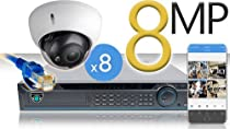 16 CH NVR with 8 4K 8MP Dome Cameras 4K Kit for Business Professional Grade FREE 1TB Hard Drive