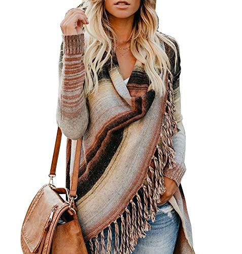 Asymmetrical Striped Sweater (Soficy Womens Speckled Fringe Cardigan Tassel Asymmetrical Hem Shawl Heap Collar Casual Sweater Poncho M)