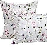 Queen's House Floral Bee Printed Pillowcases Egyptian Cotton-Queen,E
