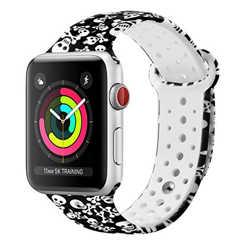 GHIJKL Sports Band Compatible Apple Watch 38mm 40mm, Soft Silicone Replacement iWatch Wristband Apple Watch Sport, Series 1, 2, 3, 4-Skull-38mm, 40mm