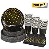 Black and Gold Party Supplies - 200PCS Disposable Black Paper Plates Dinnerware Set Gold Dots 50 Dinner Plates 50 Dessert Plates 50 9oz Cups 50 Napkins Wedding Birthday Party Baby Shower Christmas