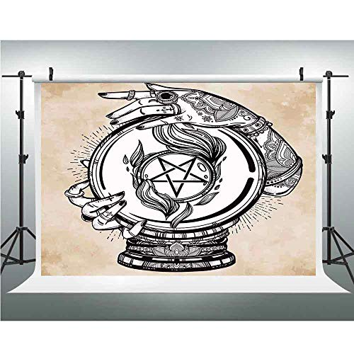 Photography Backdrop,Occult Decor,for Studio Prop Photo Background,8.2x8.2ft,Illustration of Medium Crystal Ball for Mystery Future Fortune Psychic Powers