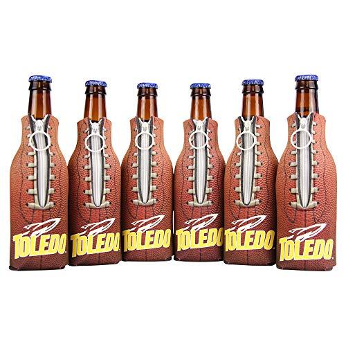 NCAA Collegiate 6 Pack Bundle Neoprene Bottle Coozies (Toledo Rockets (Football Bottle)) -