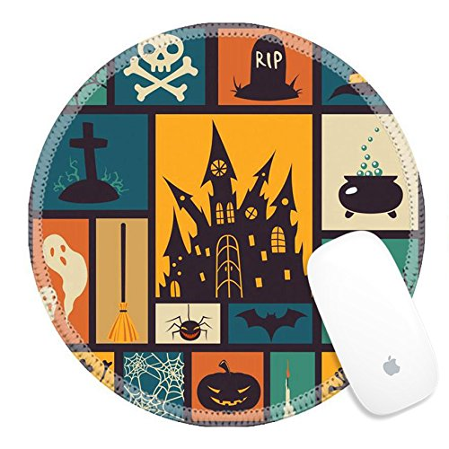 Luxlady Round Gaming Mousepad 31853658 Halloween card with modern flat elements Vector (Halloween Frame Vector)