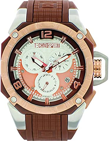 TechnoSport TS-104-6 Unisex Brown Silicone & Stainless Steel Band, Gold Bezel, 40MM Black and White Dial,Stainless Steel Chronograph (Gold Mercer Watch)
