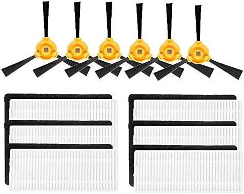 Louu - 6 cepillos laterales + 6 filtros HEPA + 6 esponjas para Eufy RoboVac 11, Eufy RoboVac 11c Robotic Aspiradora Piezas: Amazon.es: Hogar