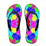 Kefanlk Unisex Rainbow Geometric Flip Flops, Mens Womens Thong Sandals Lightweight Slippers Beach