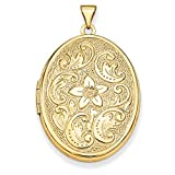 ICE CARATS 14kt Yellow Gold 32mm Oval Flower Scrolls Photo Pendant Charm Locket Chain Necklace That Holds Pictures Fine Jewelry Ideal Gifts For Women Gift Set From Heart