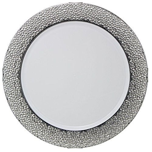 Posh Setting White Charger Plates, Silver Hammered Design, Medium Weight 13 inch, Round Plastic Chargers 10 (Plastic Chargers)