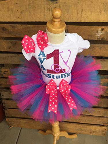 Doc McStuffins Inspired Birthday Tutu Outfit Set Dress Shirt Personalized in Purple Pink and Turquoise Any Age Needed -