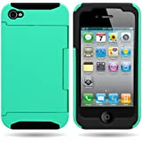 CoverON® Hybrid Dual Layer Case with Credit Card Holder for APPLE IPHONE 4 4S - TEAL Hard BLACK Soft Silicone