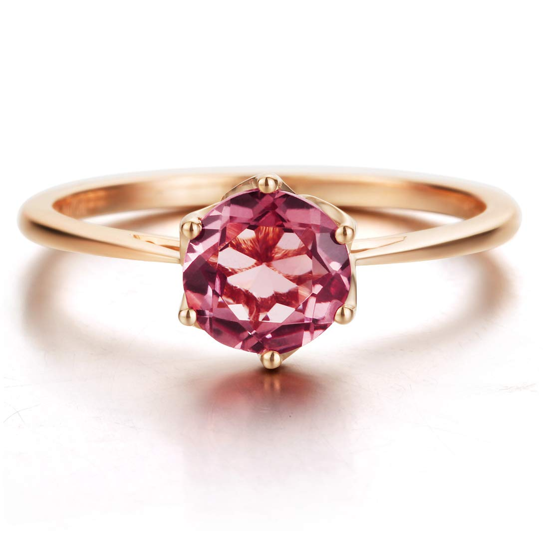AGVANA 14K Solid Rose Gold(Au585) 0.85Ct Natural Pink Tourmaline Ring Classic Promise Wedding Engagement Ring Fine Jewelry Gift for Women, Ring Size 6