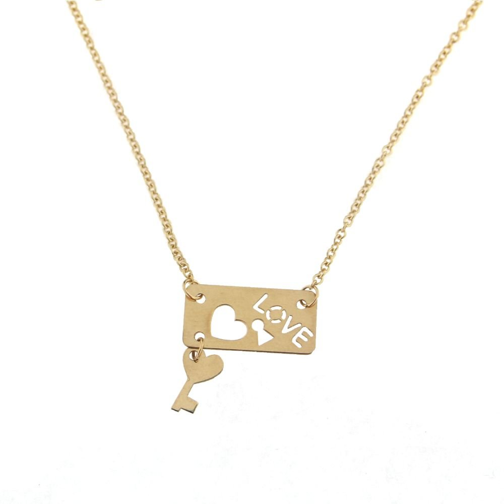 18K Yellow Gold Love open cut Plaque with Hanging Key and Rollo Chain 16 inches Necklace