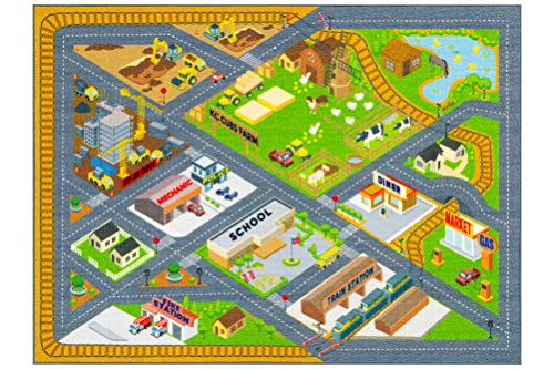 KC Cubs Playtime Collection Country Farm Road Map with Construction Site Educational Learning Area Rug Carpet for Kids and Children Bedroom and Playroom (5 0 x 6 6)