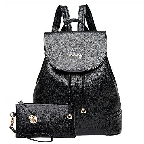 (JVP 1053-B) mochila de cuero de LA PU bolsa de estilo europeo negro mochila de la luz linda mochila impermeable de gran capacidad para el viajero mochila Junior High School girls mochila Negro