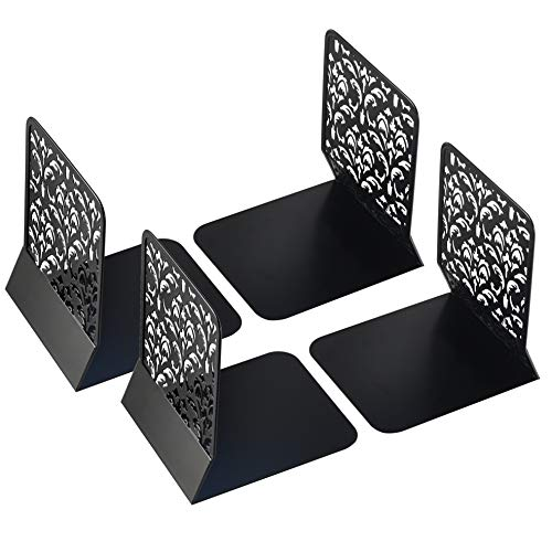 Lafbo Luxurious Metal Black Bookends - Floral Pattern Engraved Book Stands - Lightweight & Durable Book Holders - Non-Slip Book Ends - Measures 6.7 x 5.2 x 6.3 inches - 2 Sets of 2 Book Supports(4)