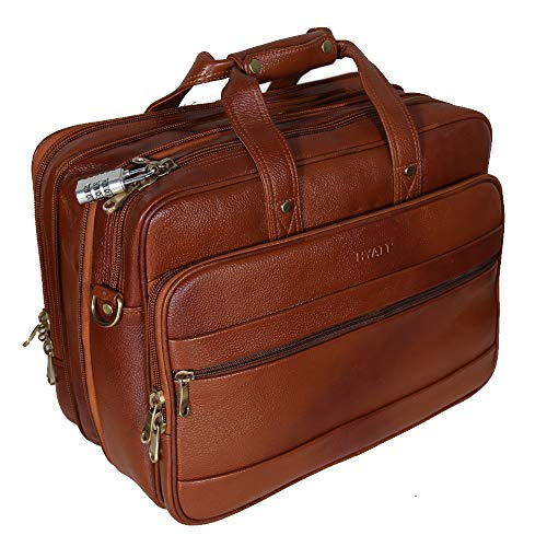 HYATT Leather Accessories 16 Inch Tan Leather Laptop Briefcase Office Bags for Men