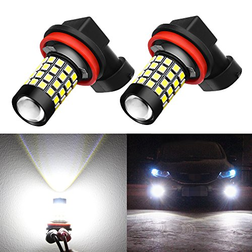Alla Lighting 2000 Lumens High Power 2835 51-SMD Super Extremely Bright 6000K White H11LL H8LL H11 H8 H16 LED Bulbs for Fog Light Lamps Replacement (Yellow Bmw 530i Fog Lights)