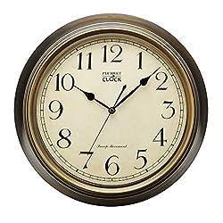 Plumeet Extra Large Silent Wall Clock, 14'' Non Ticking Classic Retro Wall Clock Decorative Living Room, Battery Operated Quartz Quiet Bronze Wall Clock (Metal Shell) (Update Version)