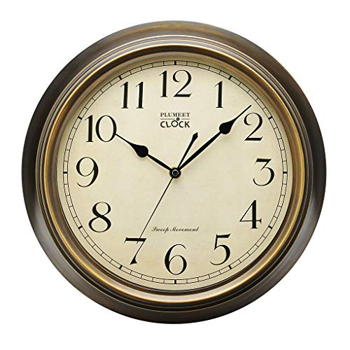 Plumeet Extra Large Silent Wall Clock, 14'' Non Ticking Classic Retro Wall Clock Decorative Living Room, Bedroom, Outdoors, Battery Operated Quartz Large Quiet Bronze Wall Clock (Metal Shell)