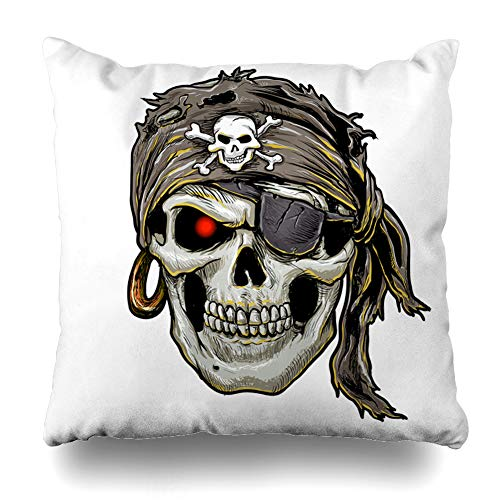 Kutita Decorativepillows Covers 18 x 18 inch Throw Pillow Covers,Skull Cartoon Halloween Head Tattoo Bandana Bone Skeleton Pattern Double-Sided Decorative Home Decor Pillowcase