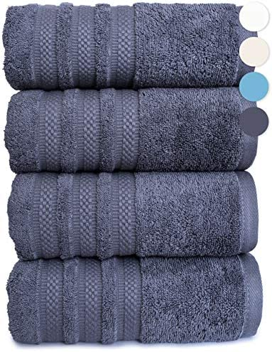 GREEN LIFESTYLE 4 Pack Luxury Bath Towel 100% American Combed Cotton Premium Quality Soft Absorbent Plush Thick Towels (Charcoal)