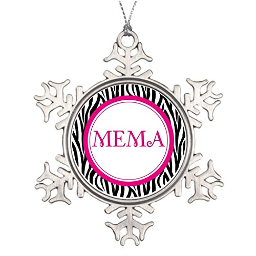 Pink Christmas Decorating Ideas - Personalised Christmas Tree Decoration Mema - Zebra Style Best Christmas Snowflake Ornaments Nana