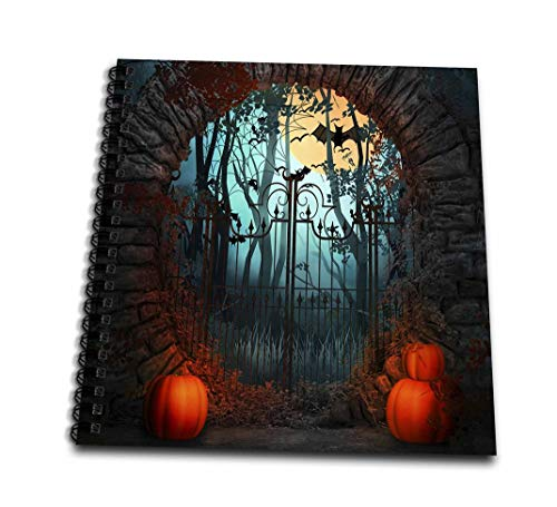 3dRose db_216771_1 Scary Halloween Gate with Bats Trees and Pumpkins Drawing Book, 8