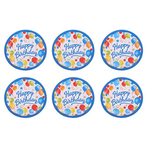 Jili Online Colorful Balloon Star Pattern Girls Boys Birthday 6pcs PAPER PLATES 18cm Round Plates Party Tableware Decorations by Jili Online (Image #3)