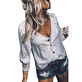 UONQD Women's T-shirt Deep V-Neck Button Solid Fashion Blouse Tops