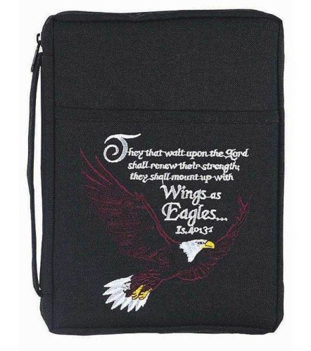 Bible Cover - Embroidered Large Eagle/Isaiah 40:31 - Black - Extra Large size - Eagle Bible Cover