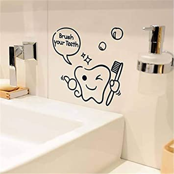 Amazoncom Dds5391 Cartoon Tooth Brush Your Teeth Shower Room Vinyl