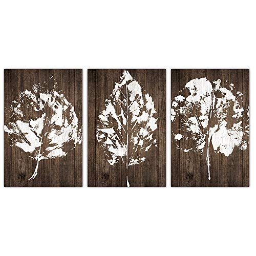 SUMGAR White Leaves on Brown Wood Vintage Canvas Paintings for Living Room Ready to Hang,16