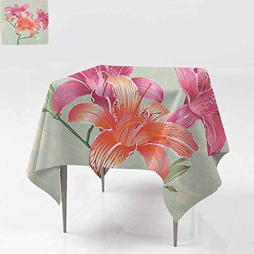DUCKIL Elegant Waterproof Spillproof Polyester Fabric Table Cover Lily Flowers on Grunge Backdrop Gardening Plants Growth Botany Indoor Outdoor Camping Picnic W63 xL63 Pale Green Salmon Pink
