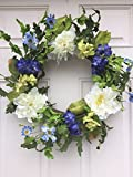 Cool and Crisp Silk Floral Wreath Creamy White Peonies and Cobalt Colored Hydrangeas Indoor Spring Summer Fall Seasonal Decor