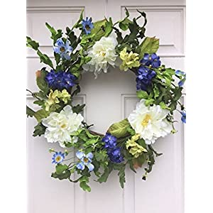 Cool and Crisp Silk Floral Wreath Creamy White Peonies and Cobalt Colored Hydrangeas Indoor Spring Summer Fall Seasonal Decor 43
