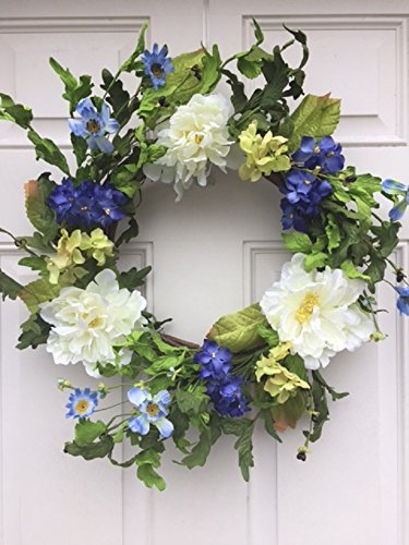 Cool and Crisp Silk Floral Wreath Creamy White Peonies and Cobalt Colored Hydrangeas Indoor Spring Summer Fall Seasonal - Wreath Hydrangea