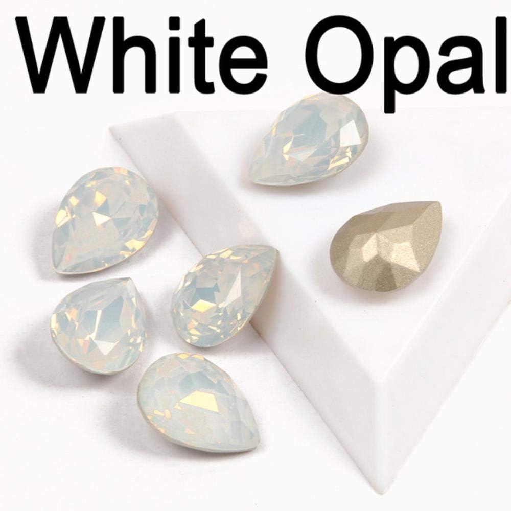 Gotas de cristal multicolor con diamantes de imitación, para coser en piedras de cristal, joyería DIY, anillo de joyería o colgante, color blanco ópalo, 13 x 18 mm, 8 unidades