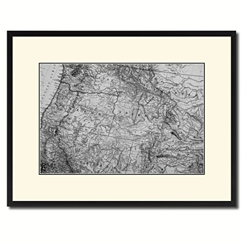 Us Pacific Northwest Old B&W Map 37098 Print on Canvas with Picture Frame Urban Wall Home Décor Interior Bedroom Design Art Gift Ideas - Black 16