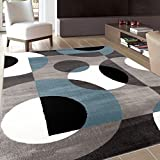 Rugshop Modern Circles Area Rug, 9′ x 12′, Blue Review