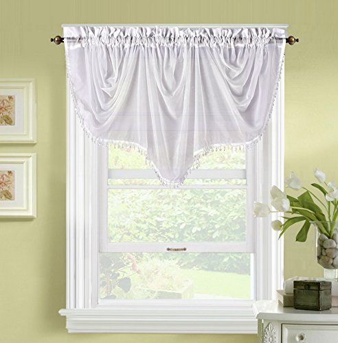 GorgeousHomeLinen (BONITA) 1 Elegant Sheer Rod Pocket Swag Waterfall Window Valance, Decorative Crystal Bead Fringe Trim