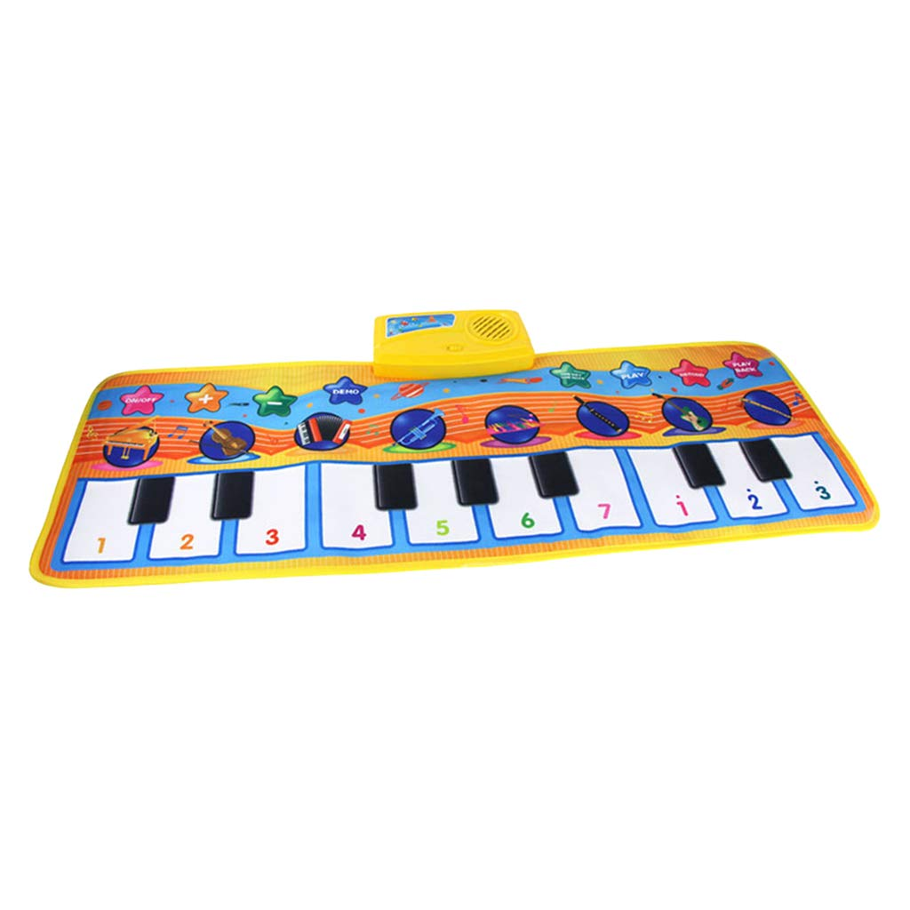 DYNWAVE Folding Musical Piano Mat 18 Keys Playmat Dancing Blanket Built-in Speaker Developmental Toy Gift for Kids Toddlers Boys & Girls (31.5x11.4 inch)
