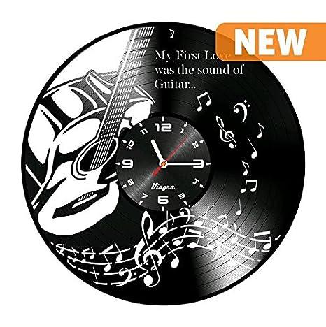 Música de la guitarra arte único disco de vinilo reloj de pared vinilo reloj de pared ...