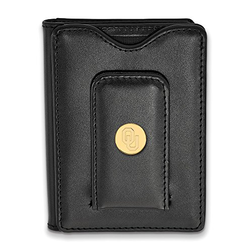 Sterling Silver w/ 14K Yellow Gold-Plated LogoArt Official Licensed Collegiate Oklahoma Black Leather Wallet (Oklahoma Mens Wallet)