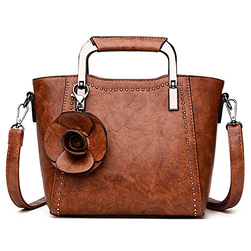 (Top-Handle Mini Handbag for Women - Ladies Small Leather Purse (Vintage Brown))