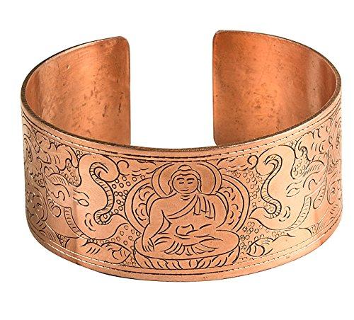 Tribe Azure Fair Trade Copper Buddha Wide Cuff Hammered Bracelet Healing Spiritual Boho Hippie Yoga Power Buddhist Men Women