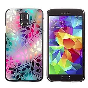 SAMSUNG Galaxy S5 V / i9600 / SM-G900 , Radio-Star - Cáscara Funda Case Caso De Plástico (Pastel Neon Leaf Pattern)