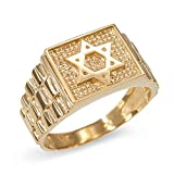 Jewish Star of David Ring for Men in Textured 14k Yellow Gold