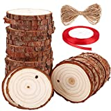 "Natural Wood Slices SOLEDI 30 PCS 2""-2.5"" Unfinished Predrilled with Hole Wooden Circles, with 33 ft Natural Jute Twine and 72ft Red Ribbon,Christmas Ornaments and Home Decorations,DIY Crafts"