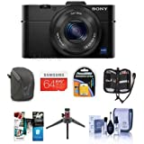 Sony Cyber-shot DSC-RX100 II Digital Camera - BUNDLE - with 64GB SDXC Card, Camera Case, Spare Battery, Memory Wallet, Table Top Tripod, Cleaning Kit, Software Package